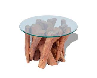 Mesa Hygge auxiliar de teca maciza y cristal